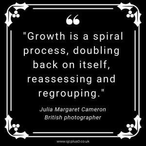 """quote white text on black background """"growth is a spiral process, doubling back on itself, reassessing and regrouping"""" by Julia Margaret Cameron British photographer"""