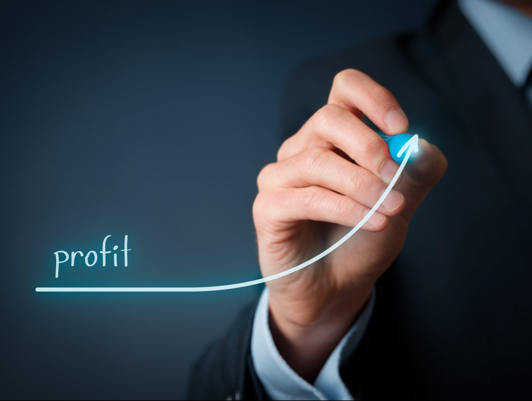 Increase profit concept. Businessman plan (predict) profit growth represented by graph.